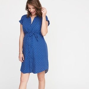 NWT Maternity Polka Dot Tie-Belt Shirt Dress